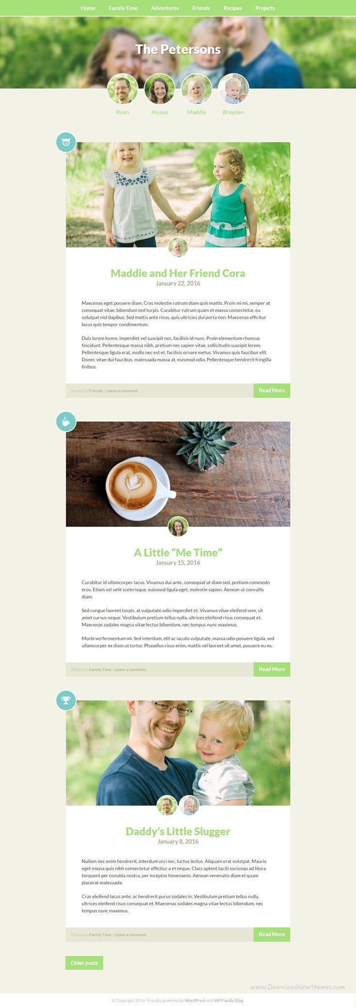 Family Blog is a beautiful, simple, and personal way to share your family's life online. It's the perfect WordPress theme for mommy #bloggers, proud dads, loving grandmas, household paparazzis and family #storytellers.