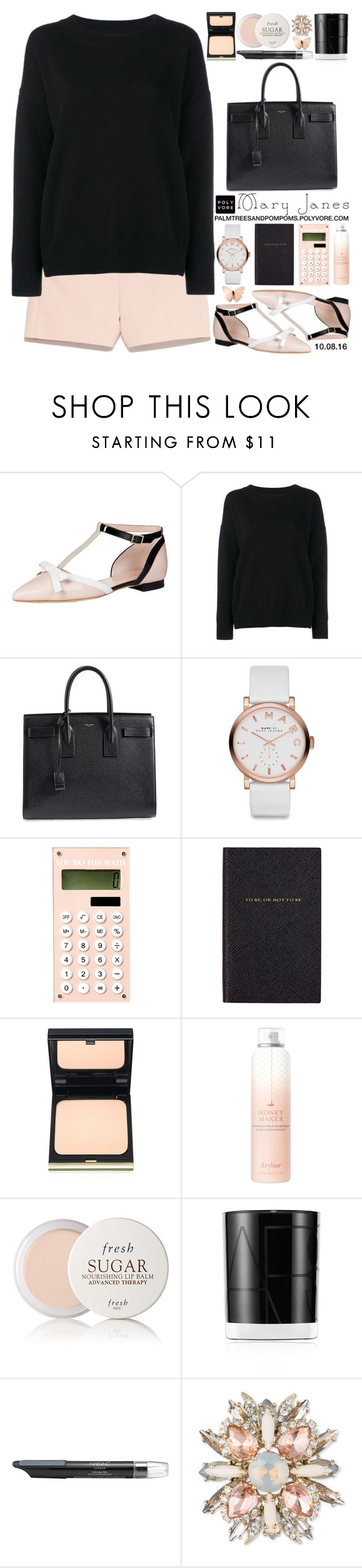 """""""Sweet Mary Janes / kate spade new york Becca Too Mary Jane Flat"""" by palmtreesandpompoms ❤ liked on Polyvore featuring Kate Spade, Frame Denim, Yves Saint Laurent, Marc by Marc Jacobs, Smythson, Kevyn Aucoin, Drybar, Fresh, NARS Cosmetics and Nails Inc."""