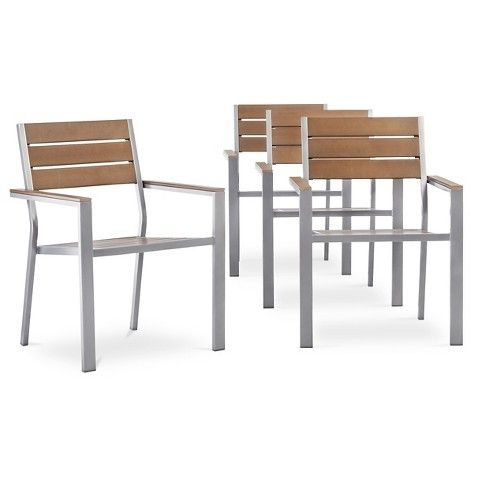 Threshold Bryant 4 Piece Faux Wood Patio Cafe Chair Set Patio Furniture Collection Metal Patio Chairs Patio Dining Chairs