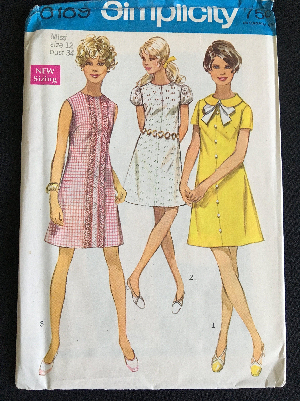 Simplicity 8189 1960s Vintage Sewing Pattern Misses 12 Bust Etsy Shift Dress Pattern Simplicity Patterns Dresses 1960s Shift Dress [ 3000 x 2250 Pixel ]