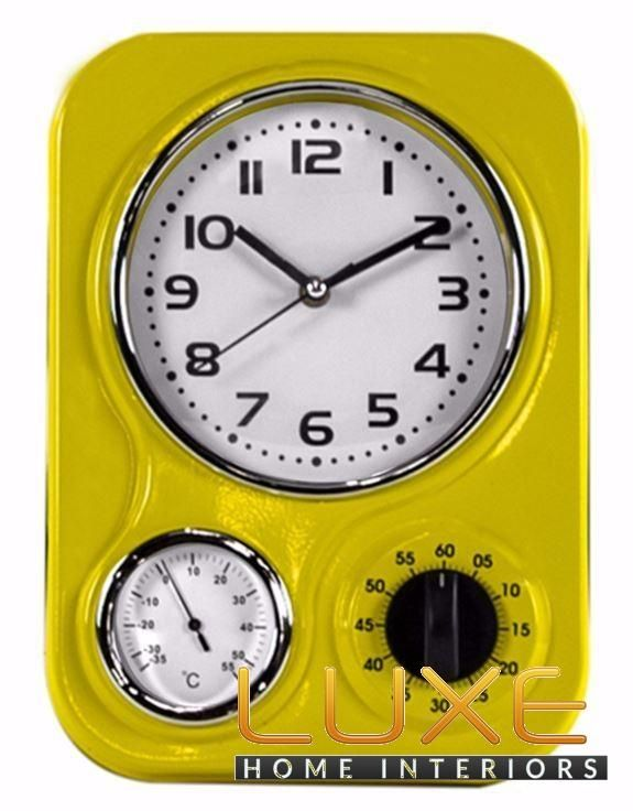 Retro Yellow Kitchen Clock With Thermometer And Timer