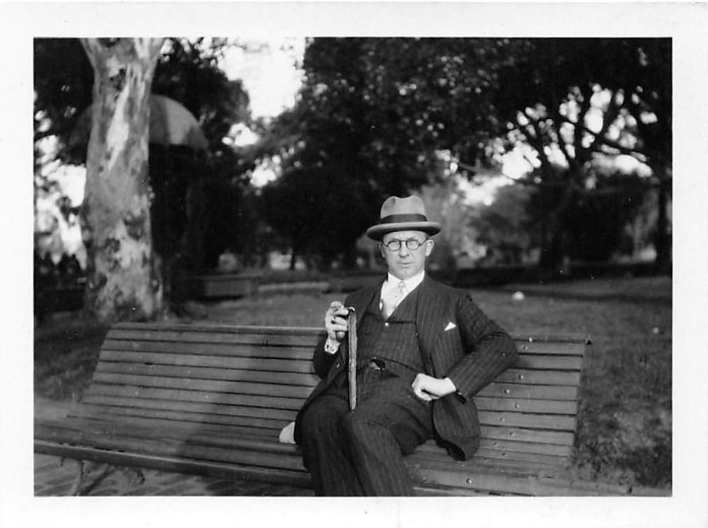 74b29d4f3a5 Vintage Photo  1950 s Man Three Piece Suit Walking Cane Trilby Hat Bench  Park Trees Umbrella -  4.99  onselz