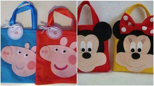 elabora lindas bolsitas dulceras para fiestas infantiles