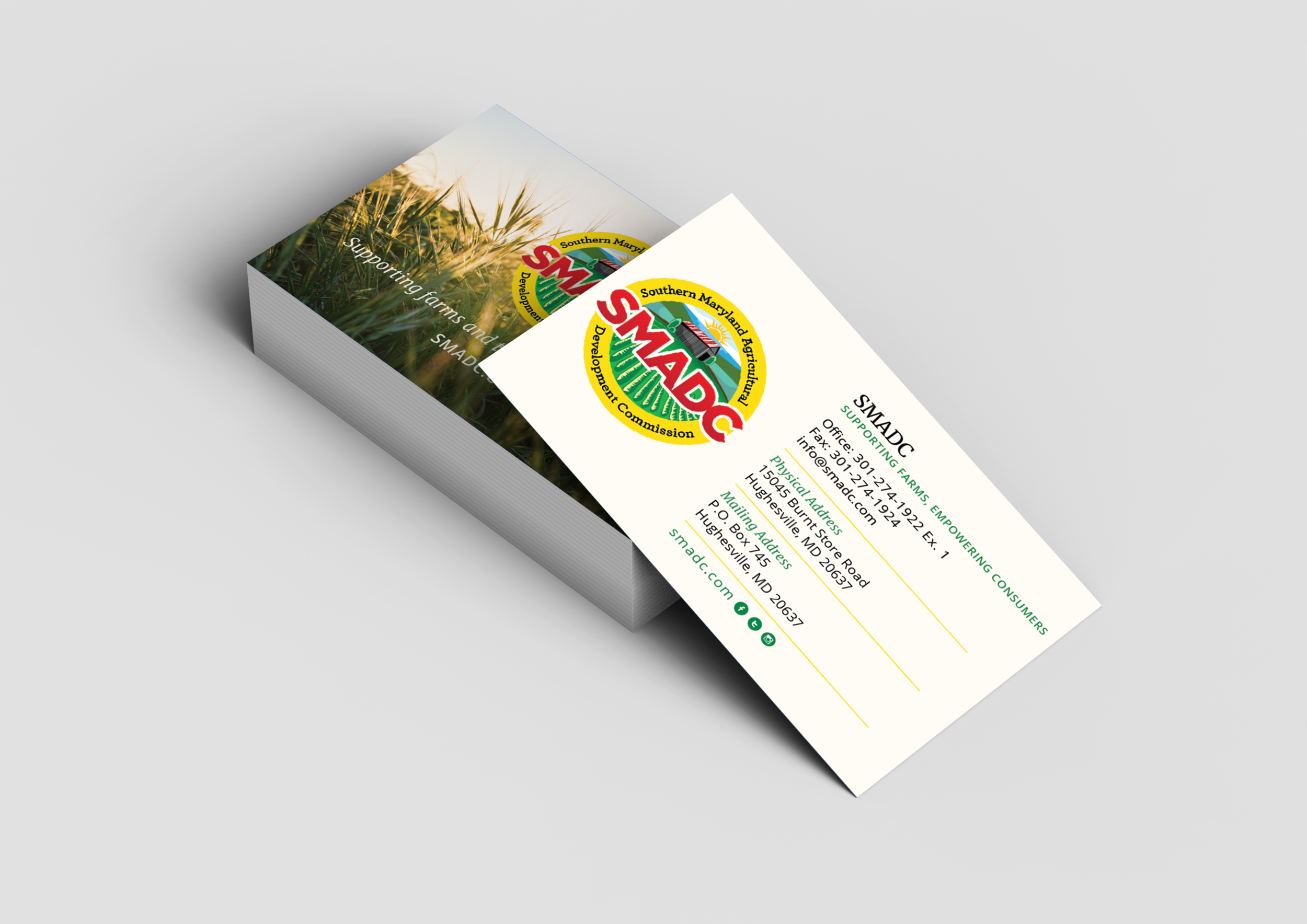 Business Card Design For Southern Maryland Agricultural Development Commission Farm Logo Design Business Card Design Farm Logo