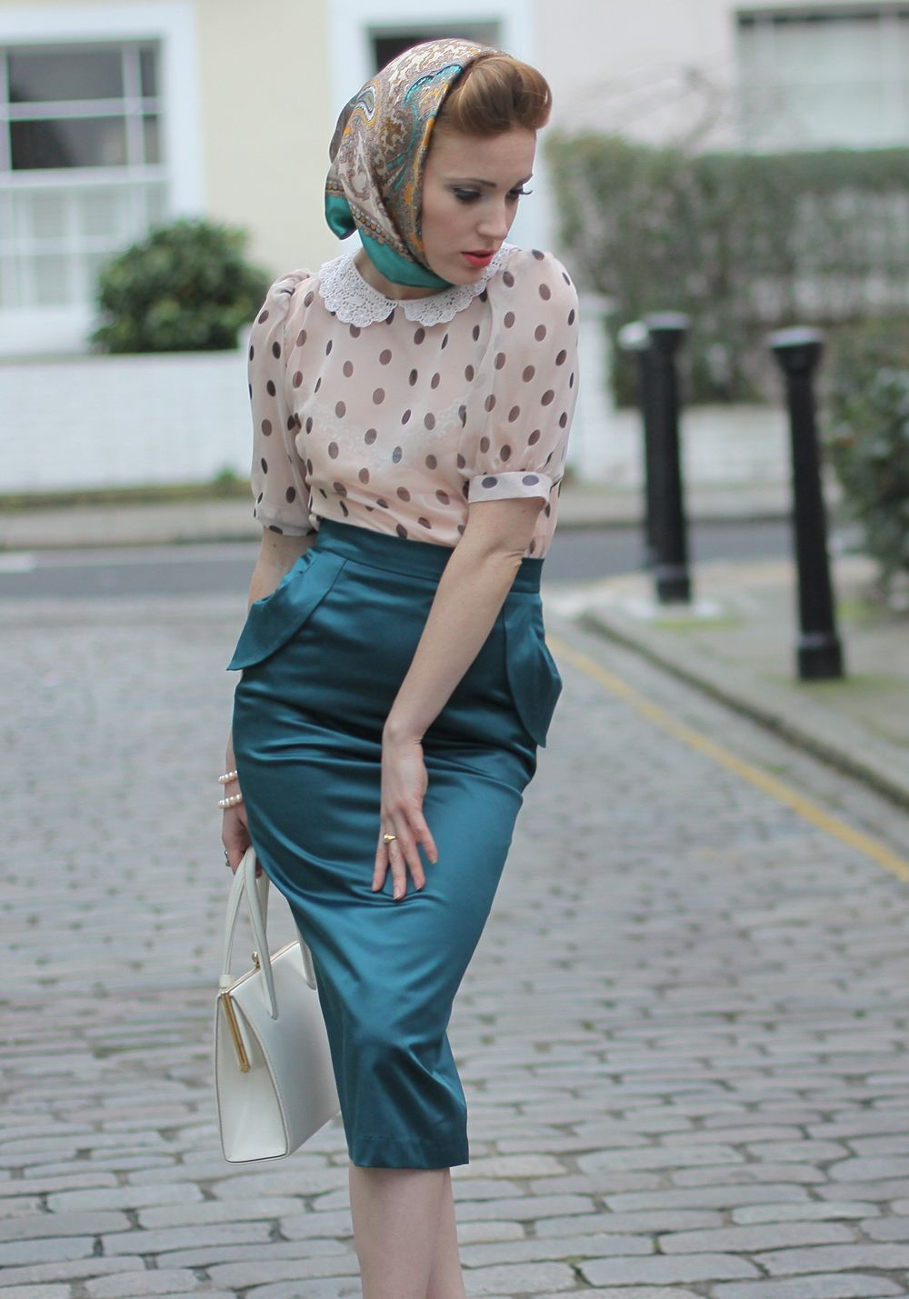 Tara Starlet 1940s 40s Style: Forties Sheer Blouse And Pencil Skirt