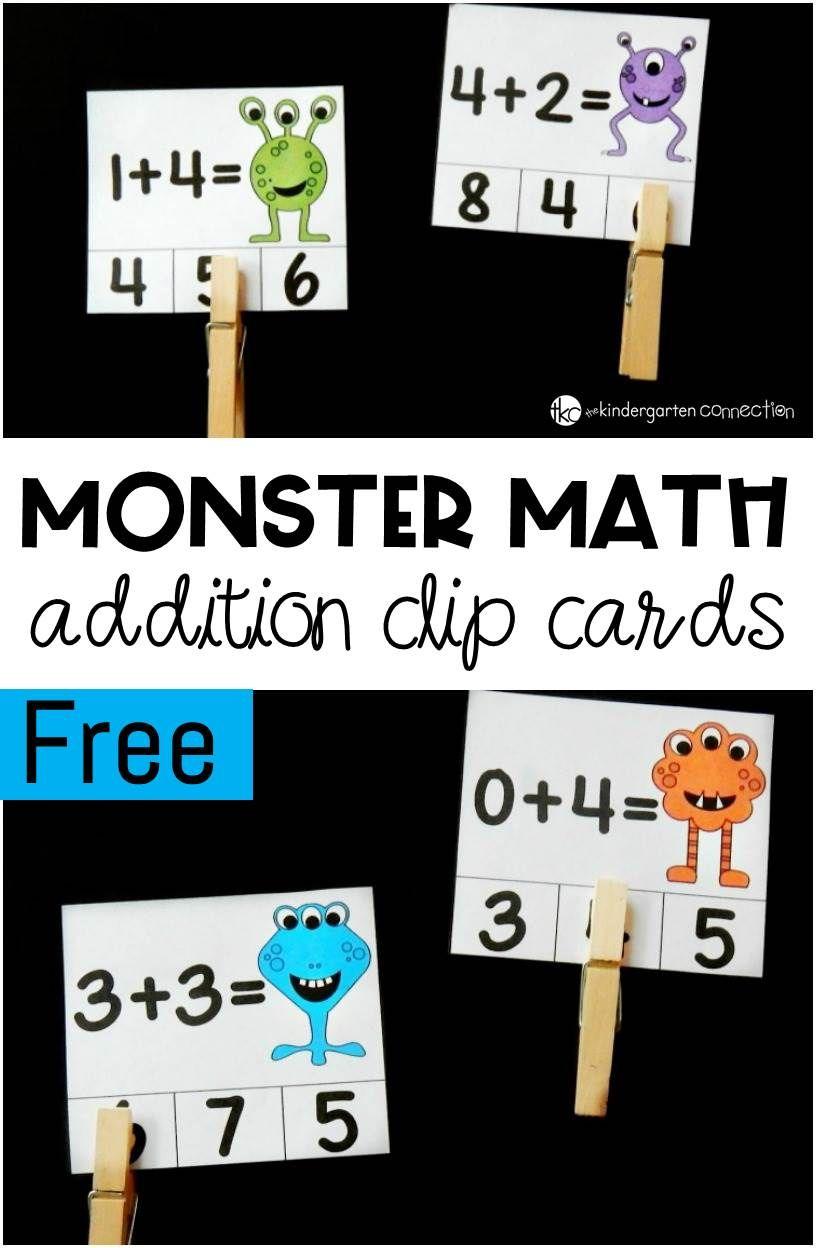 Monster Math Addition Clip Cards Kindergarten Math Activities