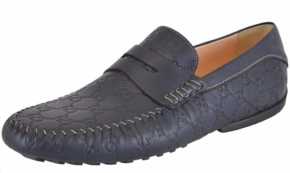 ec7a63c3adfaaf NEW Gucci Men s 170618 BLUE Leather GG Guccissima Drivers Loafers Shoes   Gucci  LoafersSlipOns