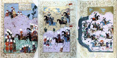 Миниатюры из Şehname-i Nadiri с татарами. Сюжеты этих миниатюр пока неизвестны.