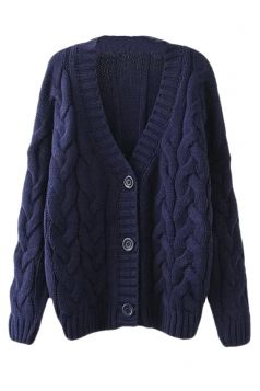 Navy #Blue Warm Womens Cable Knit #Vintage #Plain #Cardigan ...