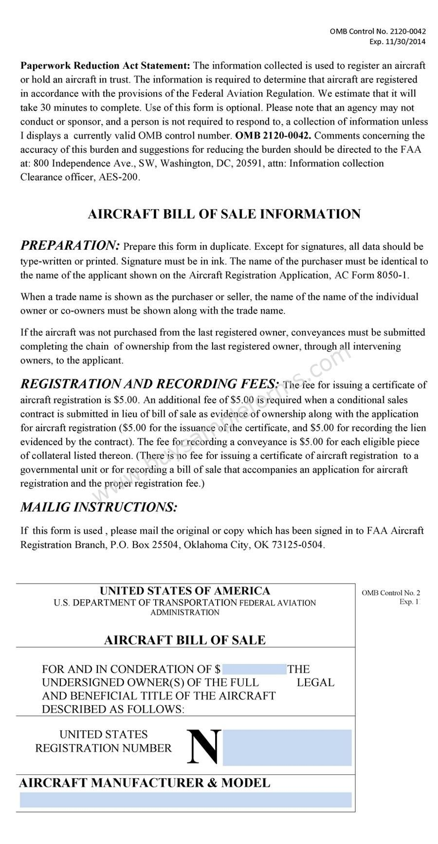Aircraft Bill Of Sale Form Bill Of Sale Forms Bill Of Sale