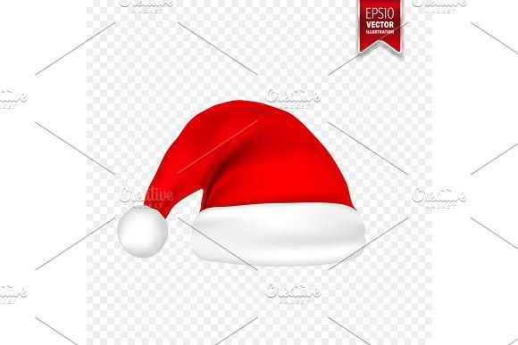 christmas santa claus hats with shadow set new year red hat isolated on transparent background vector illustration party