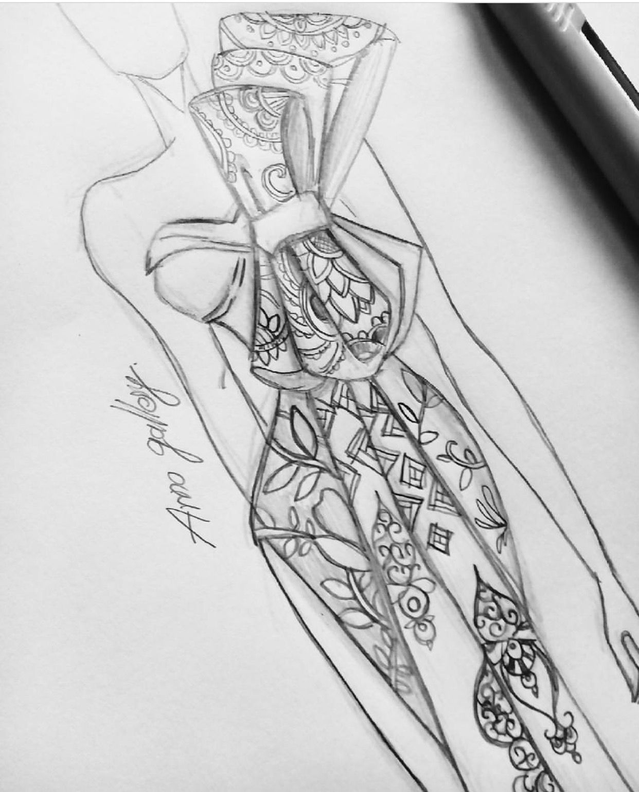 Pattern Art ⚛️ #PencilSketches #FashionIllustrations @arno_gallery| Be Inspirational ❥|Mz. Manerz: Being well dressed is a beautiful form of confidence, happiness & politeness