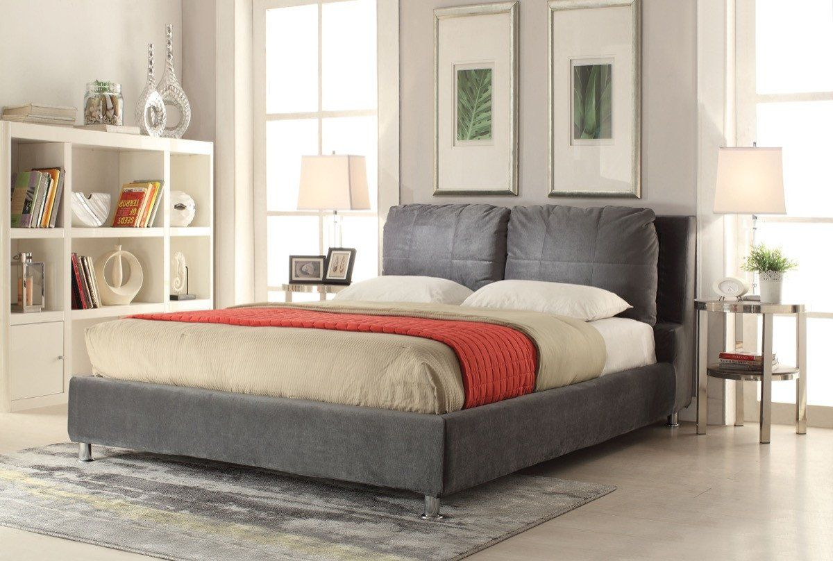 acme bywilde eastern king bed dark olive gray fabric 25257ek