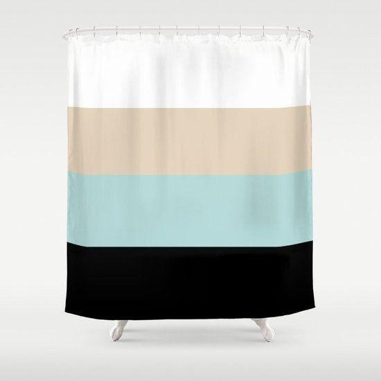 Shower Curtain Bathroom Decor Bath Home Housewares Striped Black Light Teal Sand White