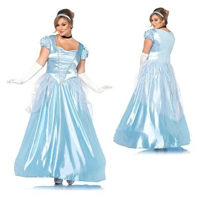 Womens Classic Cinderella Ball Gown Plus Size Princess Costumes