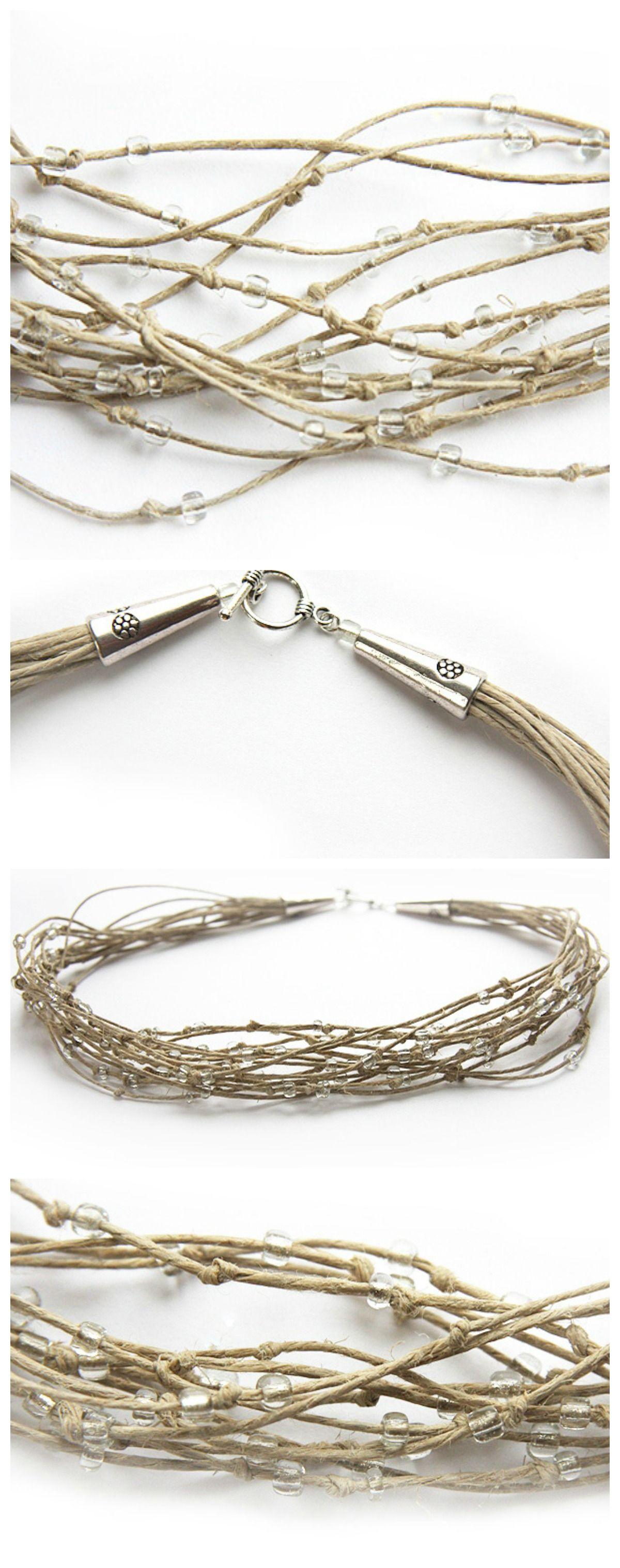 Eco Friendly Rustic Boho Necklace, Natural Polished Soft Hemp in Cream Shades. Multi Strand Necklace. Clear Beads. Bird Nest #boho