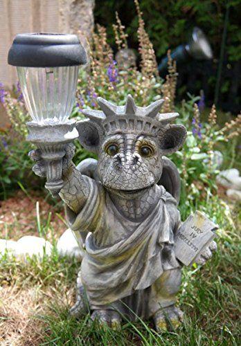 Drachenkind Freiheitsstatue Mit Solar Laterne Drache Figur Gartenfigur Amazon De Garten Sadovye Skulptury Statui Skulptura
