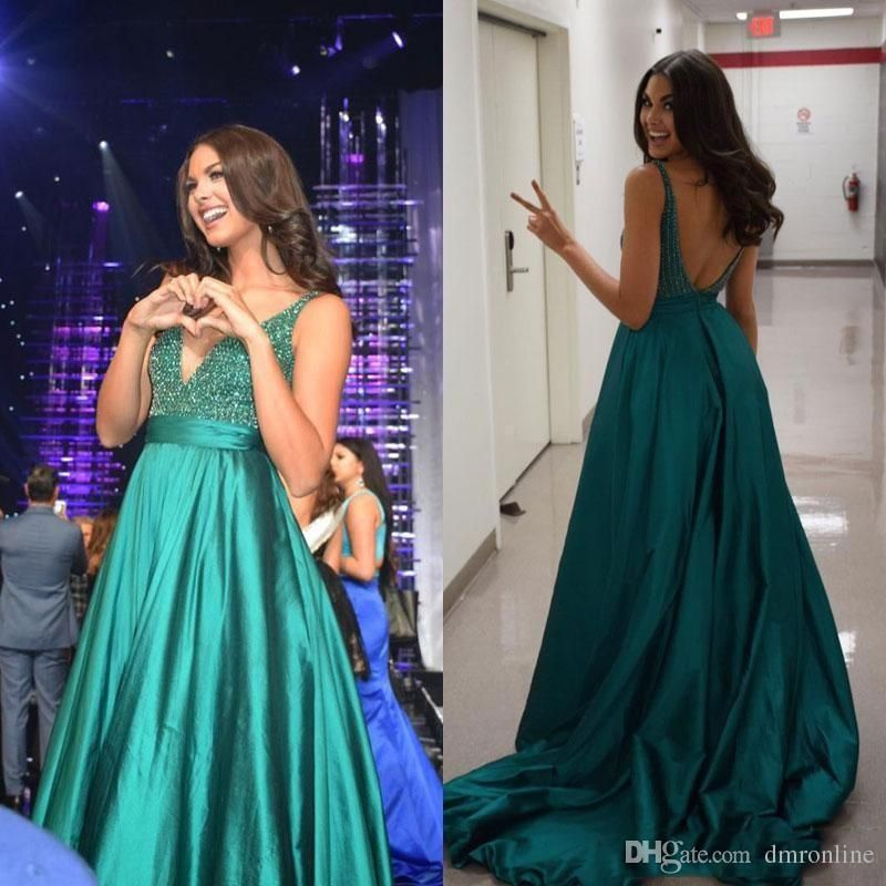 570274b7f7aac Emerald Green Backless Evening Dresses 2016 Sequin Beaded Top Sexy Deep V  Neck Sweep Train Satin A Line Prom Party Gowns Celebrity Dress Evening  Dresses For ...
