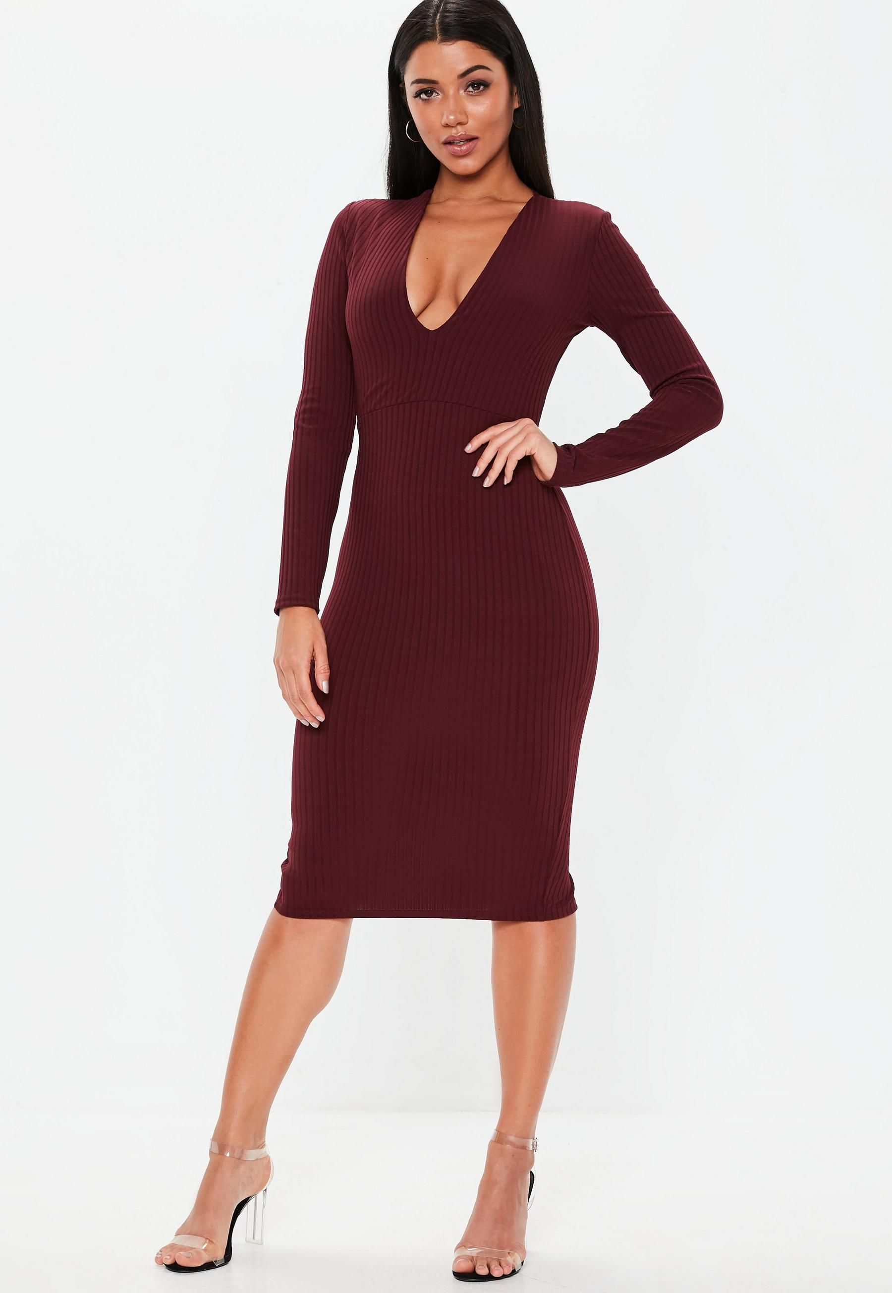 Burgundy Plunge Ribbed Slinky Midi Dress in 2018  724698b40