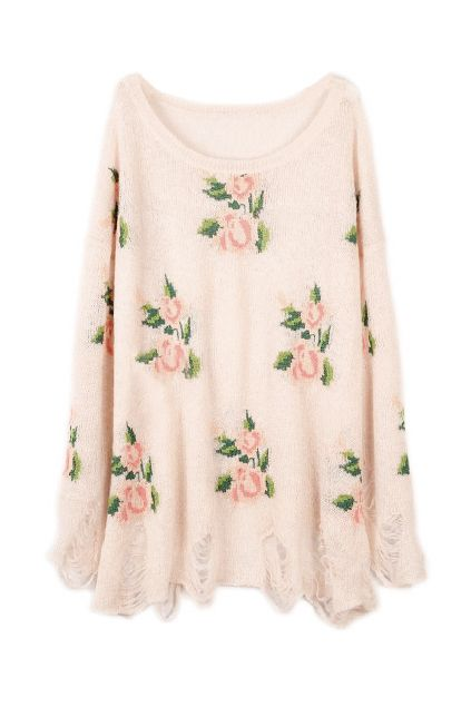 Romwe ROMWE | Floral Printed Pink Irregular Sweater, The Latest ...