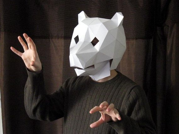 Make Your Own Paper Bear Mask with Moving Jaw!   Halloween ...