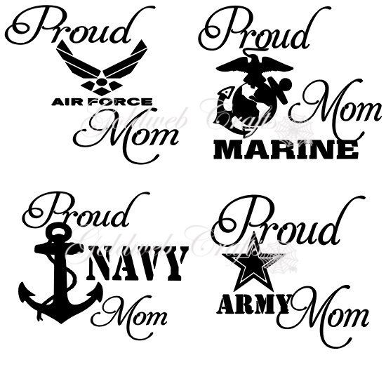 Proud Navy / Army / Air Force / Marine Mom Car by GoldWebDesign