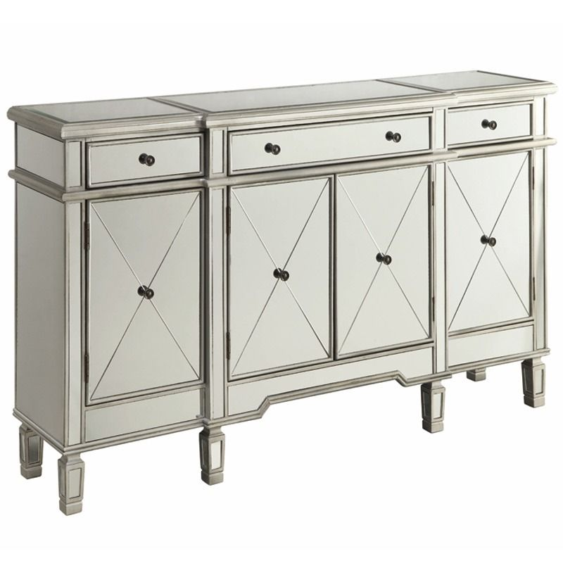 Bailey Mirrored Wine Cabinet With Bott Furniture And Mattress Outlet