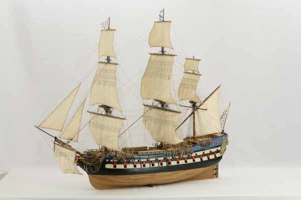 Historic ship model Le Protecteur, French ship of the line 1760