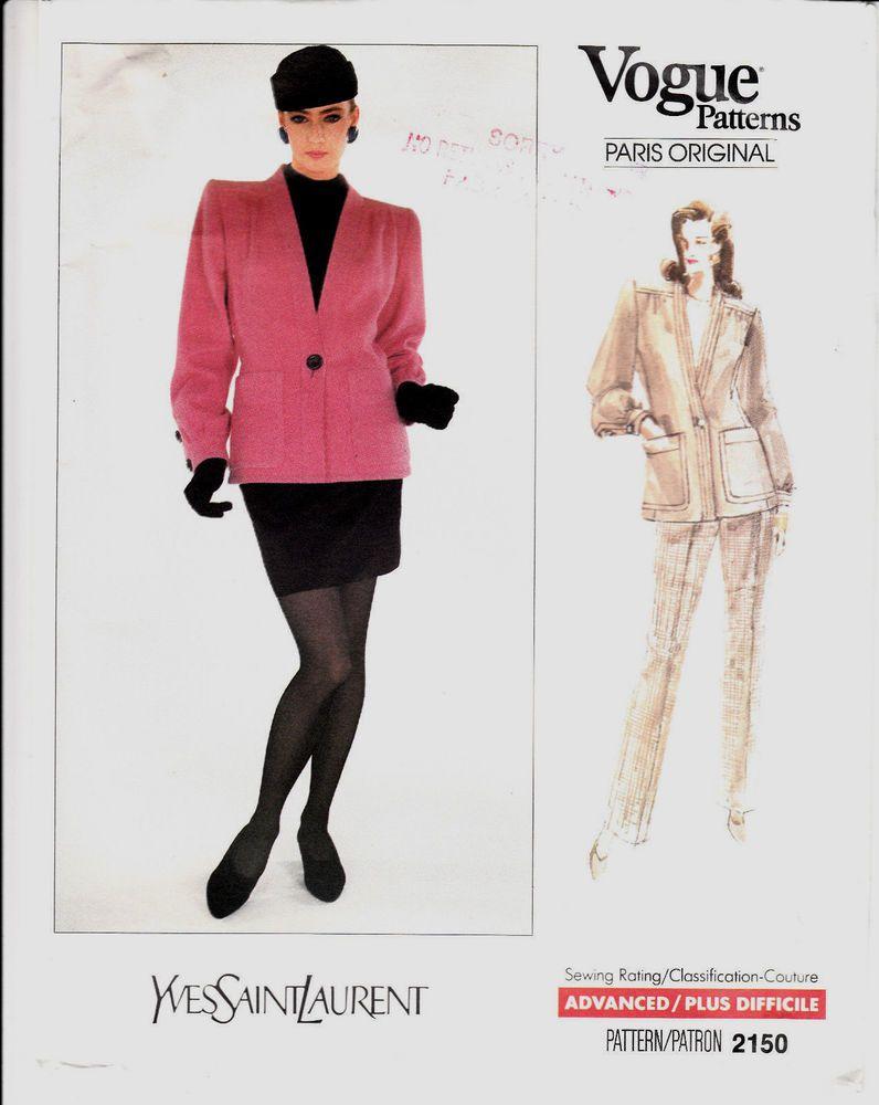 VOGUE Jacket Skirt Pants Yves Saint Laurent Paris Sew Pattern 6-8-10 Uncut FF #Vogue2150 #jacketskir