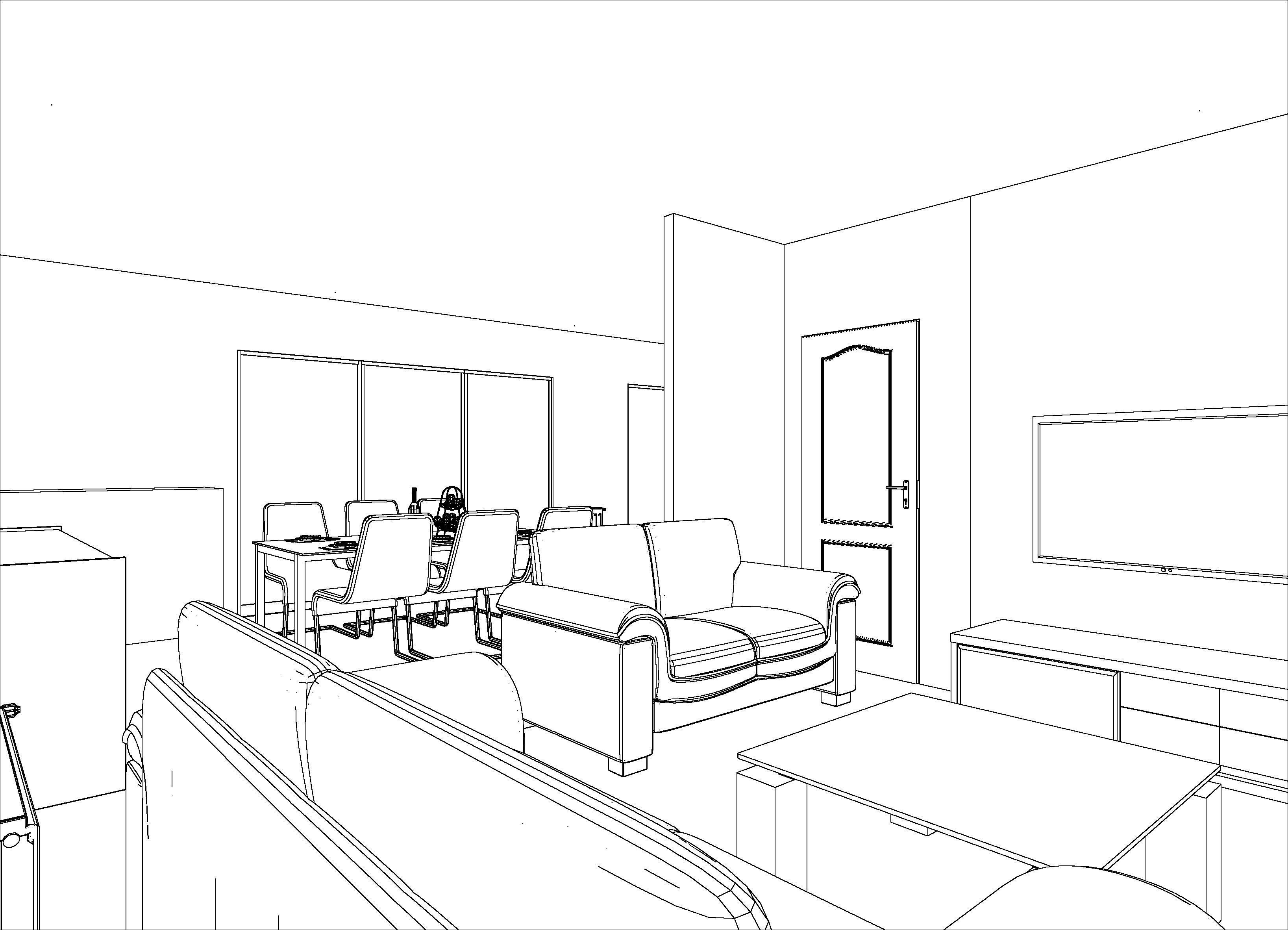 croquis 3d noir et blanc salon salle à manger, plan 3d séjour