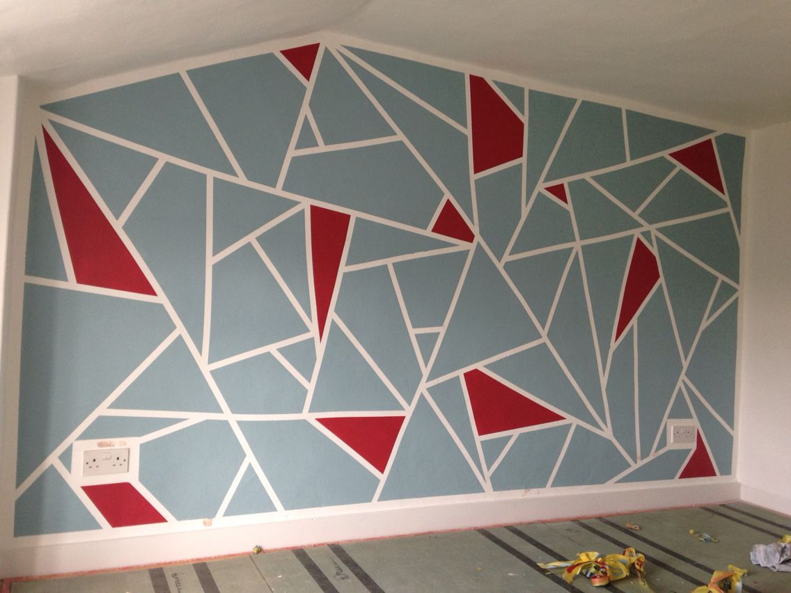 Diy geometric feature wall frog tape and dulux roasted - Geometric wall designs with paint ...