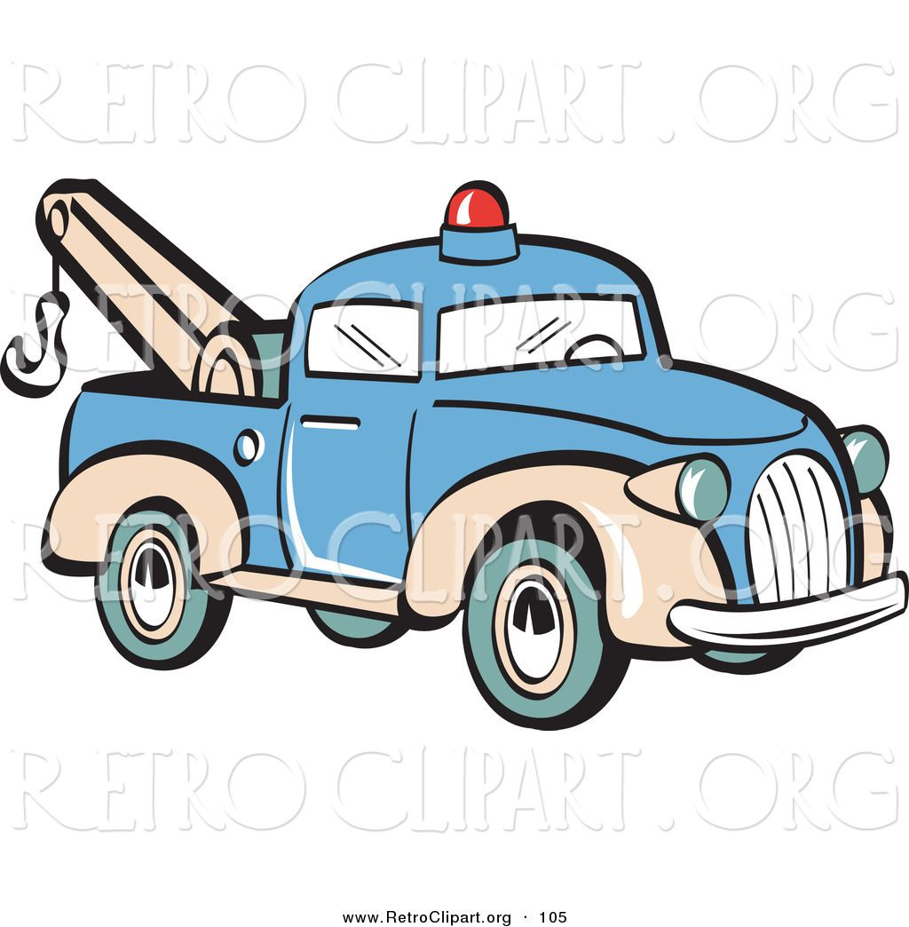 retro clipart of a blue toy tow truck with a hook on the tailgate rh pinterest com