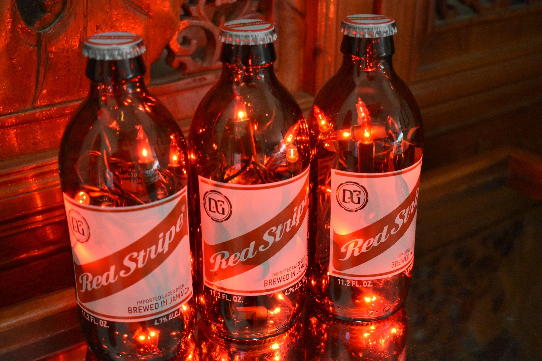 Red Stripe Beer Bottle Light Jamaican Lager 3 Pack Red Or White Lights Bar Light Red Stripe Lamp Red Stripe Light In 2020 Bottle Lights Beer Bottle Lights Bottle