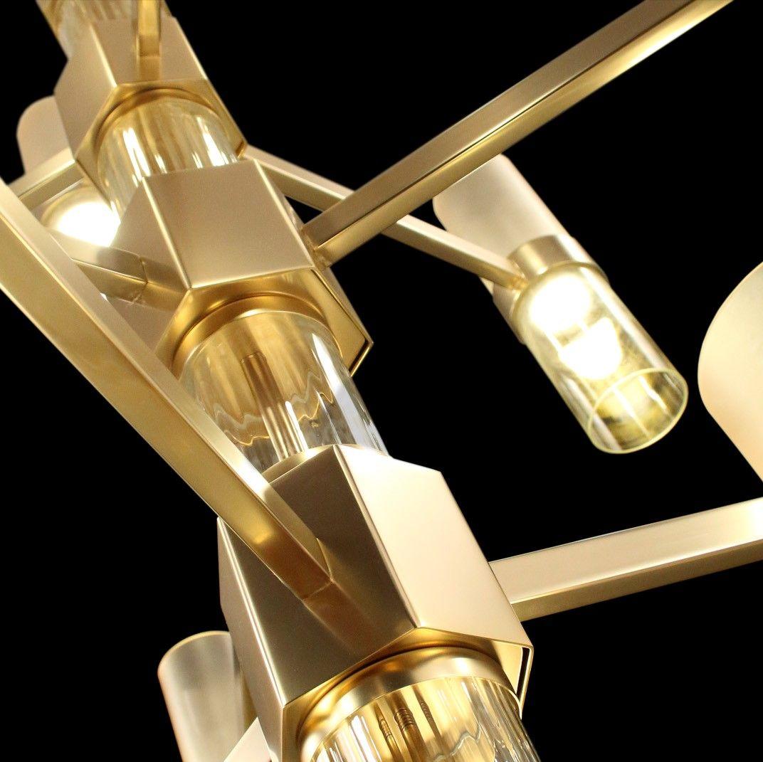 Lampadario vetro moderno Hexigo finiture pregiate e