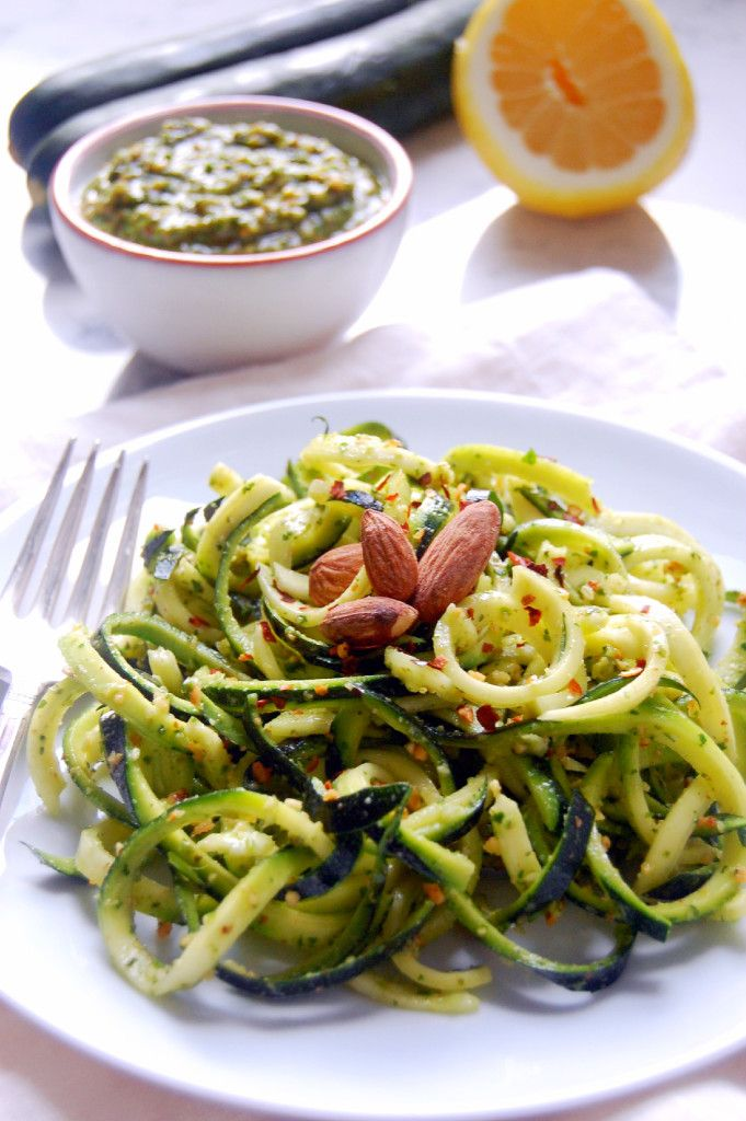 15 Minute Zucchini Noodles with Almond Herb Pesto #glutenfree #vegan | Uproot from Oregon