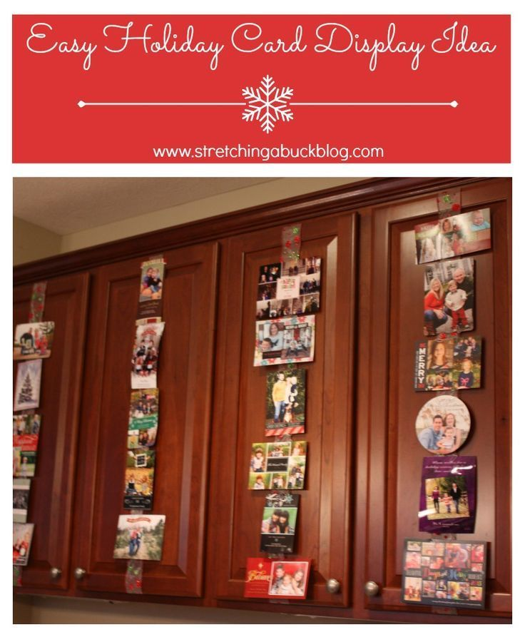 Easy Holiday Christmas Card Display Idea #christmas #christmascard  #christmasorganization