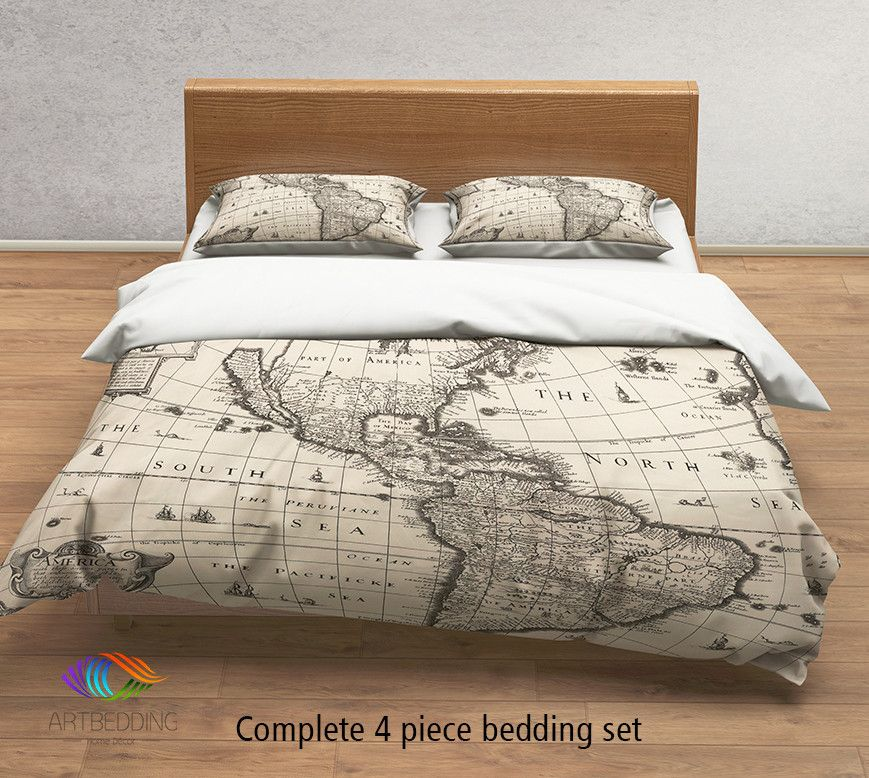 Vintage World Map Bedding 1627 Antique Map Of North And South America Duvet Cover Set Steampunk Old Map Comforter Set Bedding Set Full Bedding Sets Map Bedding