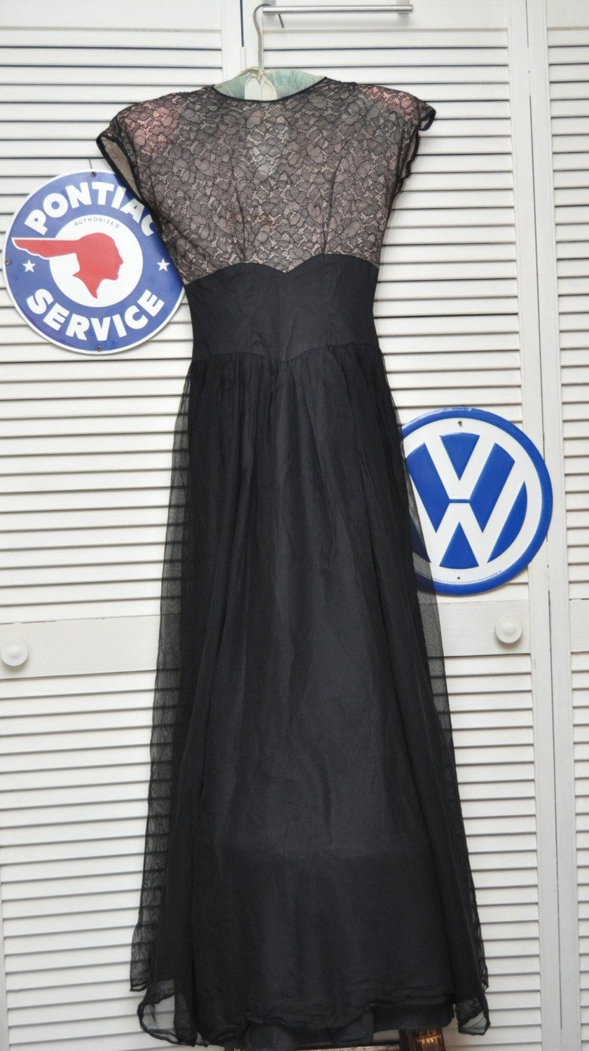 Vintage Womens Teens 40s 50s Dress Formal Gown Full Length XS 0 Lace ...