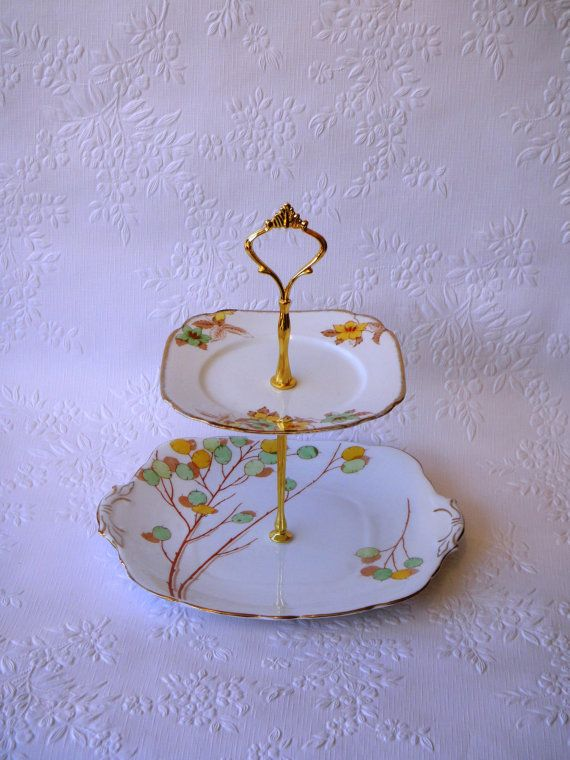 Vintage 2 Tier Cake Stand Royal Stafford Bell China by myEroom, $69.00