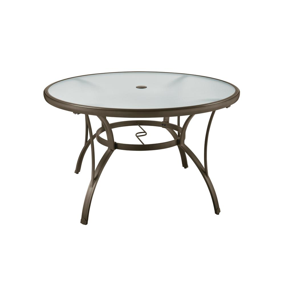 Hampton Bay Brown Round Commercial Grade Aluminum Outdoor Patio Dining Table Fta60762 The Home