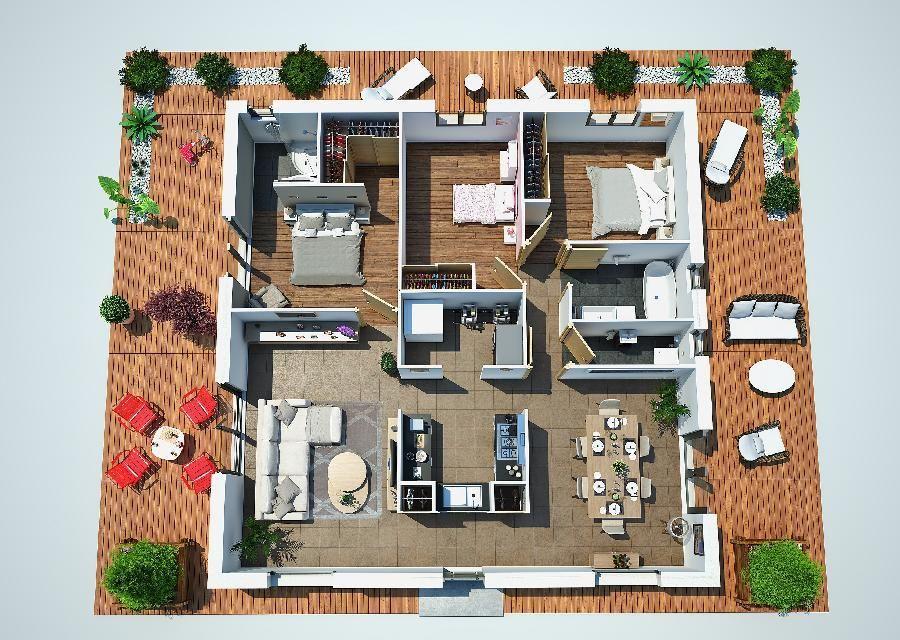 Plano 3d casa de una planta y tres dormitorios en 90 for Habitaciones 3d gratis