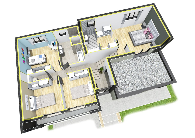 plan de maison 1/2 niveau