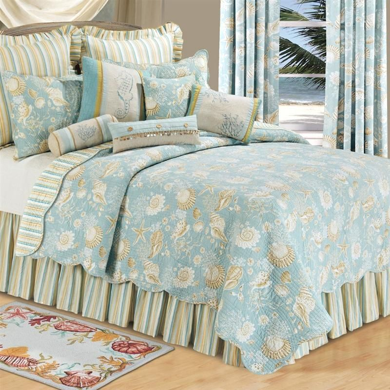 Beach Theme Comforter Sets Themed Bedspread Natural Shells Quilt Bedding Ocean Wave 19