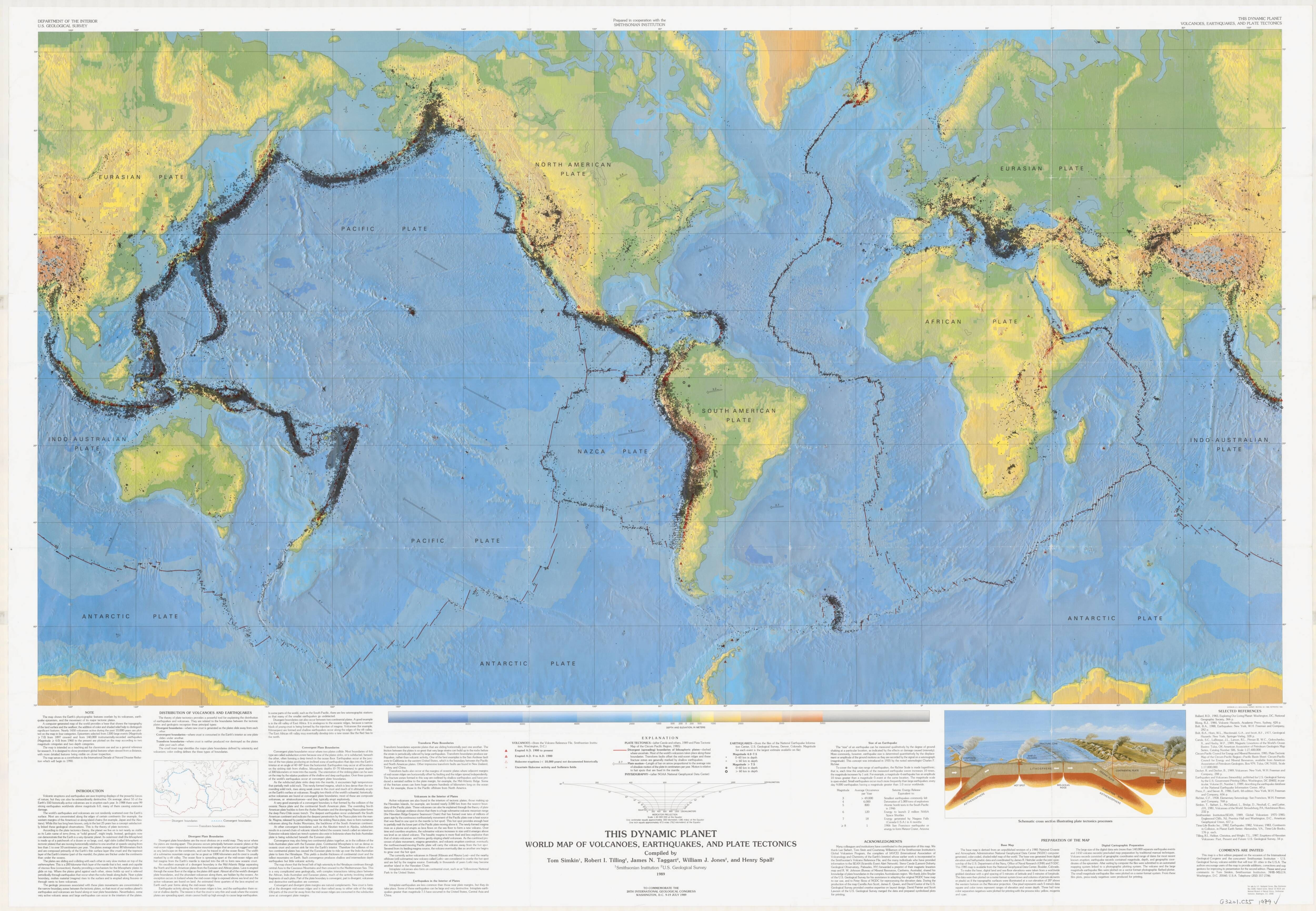 This dynamic planet 1989 world map of volcanoes earthquakes this dynamic planet world map of volcanoes earthquakes and plate tectonics gumiabroncs Choice Image