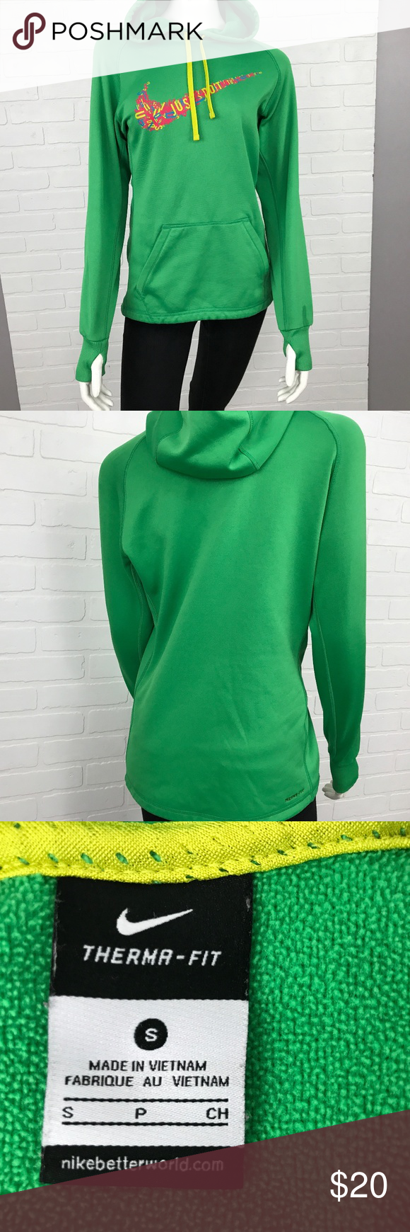 Green NIKE Swoosh Logo Hoodie Therma Fit Size BRAND Nike