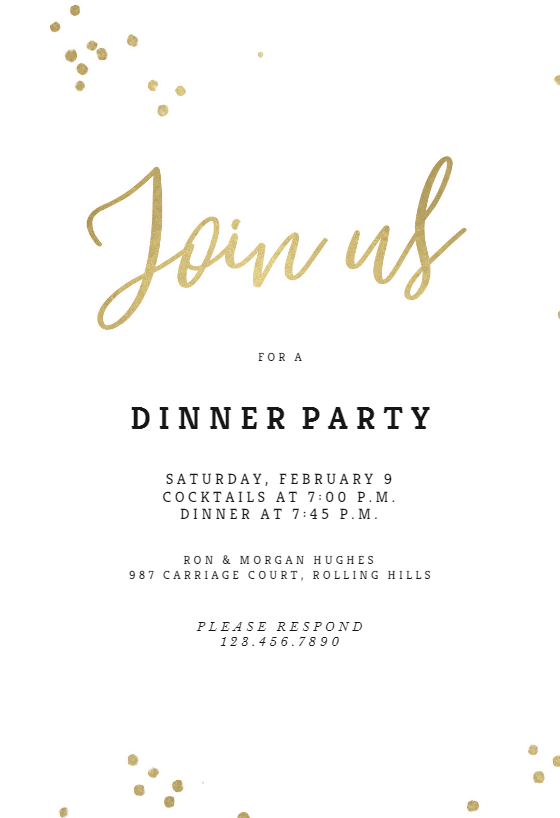 Minimal Confetti Dinner Party Invitation Template Free Greetings Island Party Invite Template Party Invitations Diy Dinner Party Invitations