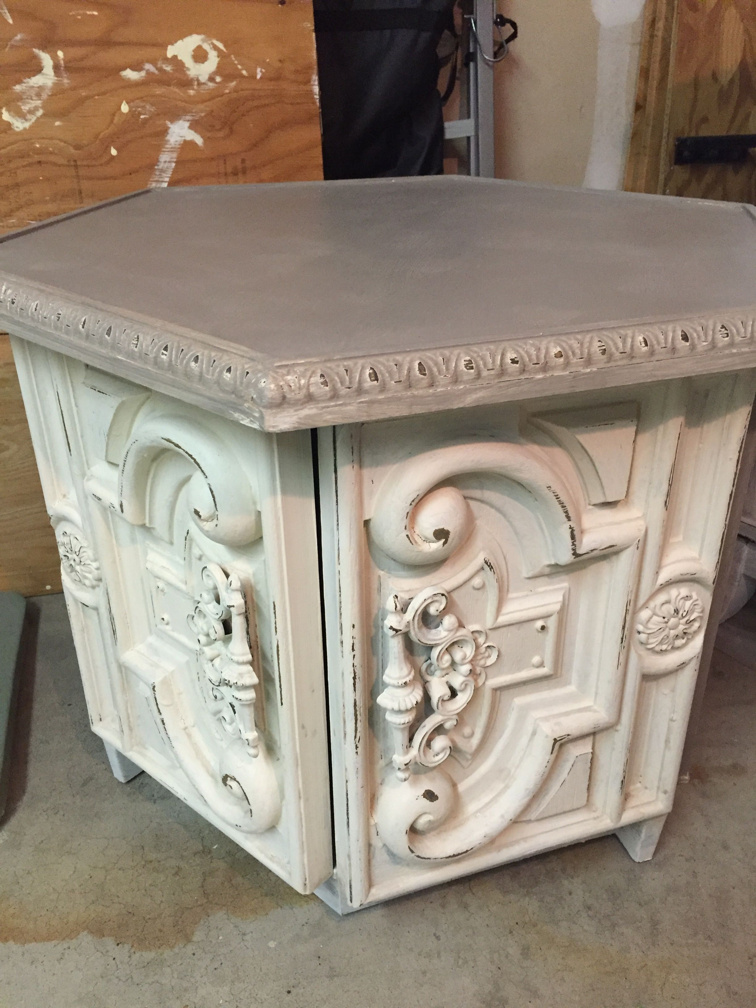 Chalk Painted Vintage Octagon Side Table