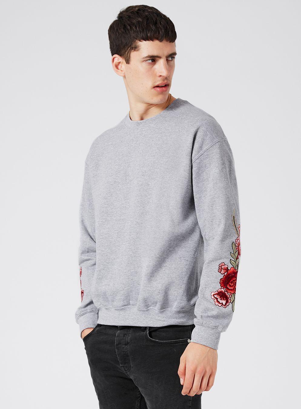 Grey Rose Embroidered Sweatshirt Men S Hoodies Sweatshirts Clothing Topman Rose Embroidered Sweatshirt Mens Sweatshirts Hoodie Long Sleeve Tshirt Men [ 1350 x 994 Pixel ]