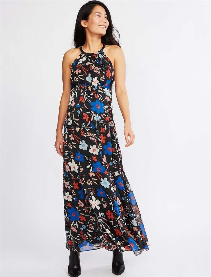 c6ee54308033a A Pea in the Pod Halter Maxi Maternity Dress in 2019 | Products ...