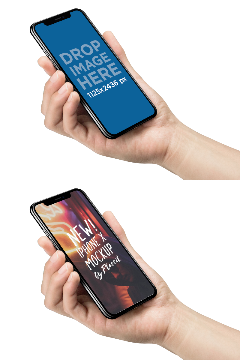 iPhone X Mockup Being Held Against Transparent Background
